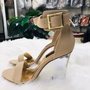 Shoes - 🆕️Nude Faux Suede Chunky Translucent Single Ankle